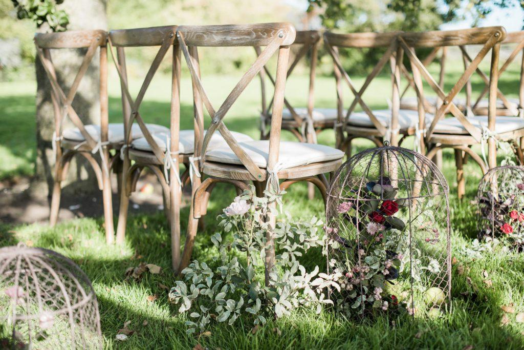 Rustic oak crossback chairs - Blue Goose Hire