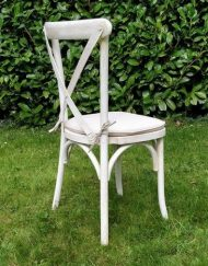 whitewashed crossback chair hire - Blue Goose Hire