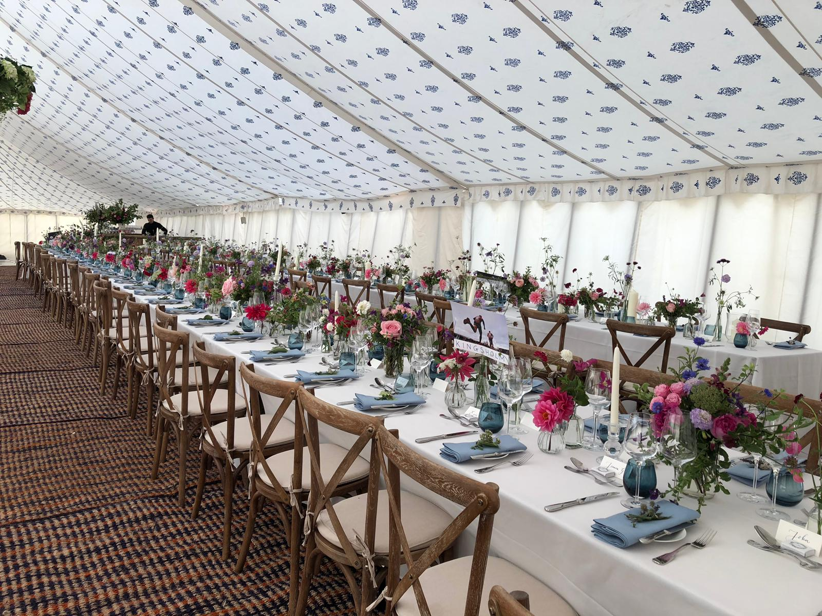 Rustic Oak Crossback Chairs at Marquee Wedding - Blue Goose Hire
